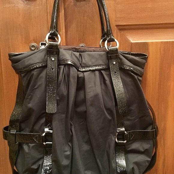 76f5e7fdac Cole Haan Bags | Kyle Black Nylon Patent Tote Handbag | Poshmark